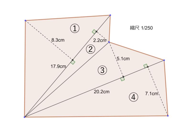 三角形の寸法が書き込まれた図